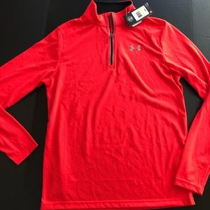NEW 1/4 Pull Over LOGO Heatgear M Solid RED Fitted